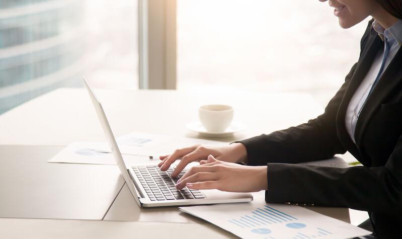Businesswoman creating CV Format